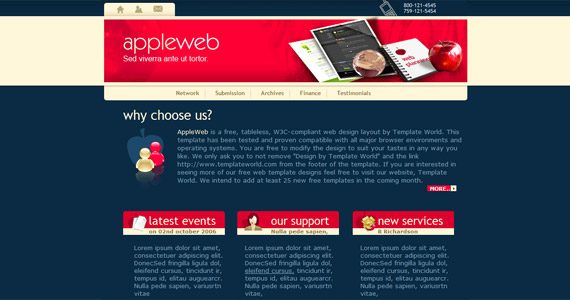 appleweb-xhtml-css-template