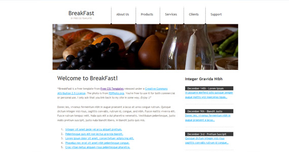 breakfast-xhtml-css-template