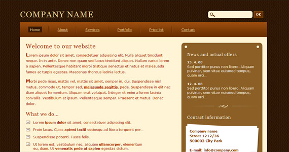 chocolate-xhtml-css-template
