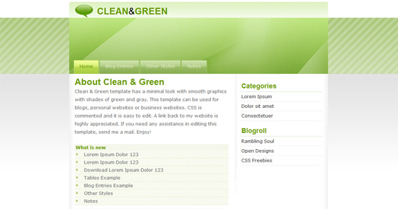 clean-and-green-xhtml-css-template