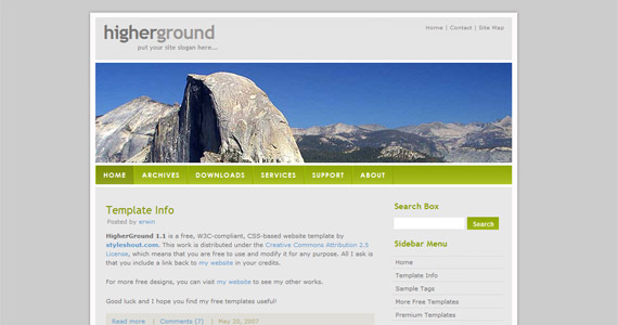 higher-ground-xhtml-css-template