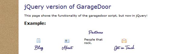 garage-door-jquery-menu