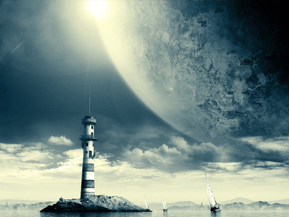space-lighthouse-desktop-background