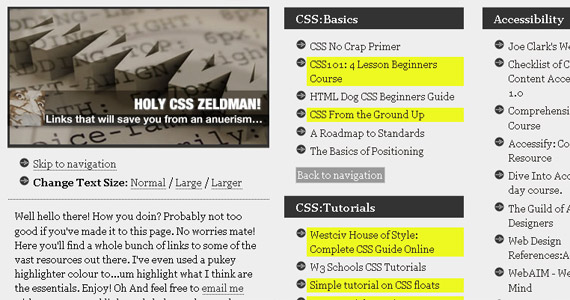 holy-css-zeldman-tutorial-web-site-learning
