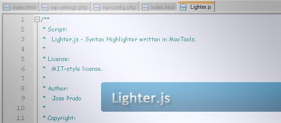 lighter-syntax-highlighter-written-in-mootools