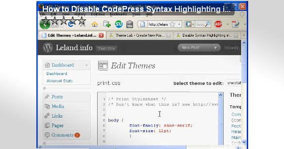 how-to-disable-syntax-highlighting-wordpress-2-8