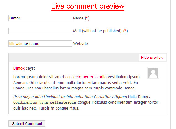 live-comment-preview-wordpress-jquery-plugin