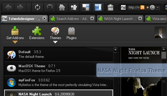 nasa-night-launch-free-popular-firefox-3-5-theme