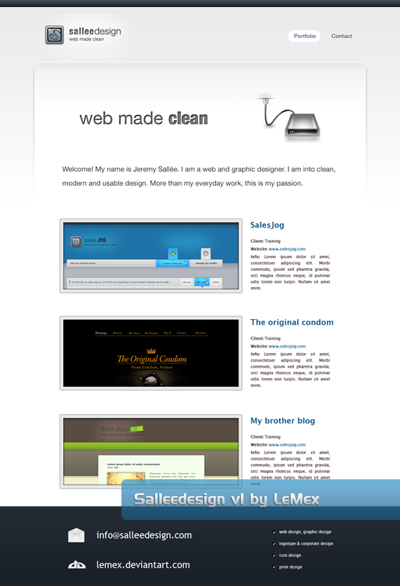 sallee clean web design interface inspiration