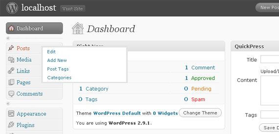 Pop menus WordPress dashboard