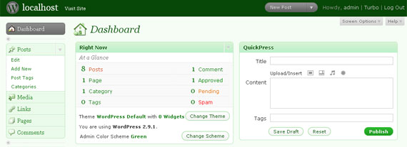 WordPress dashboard green color scheme