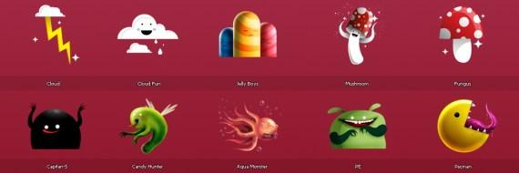 Иконки монстров, грибов и конфет