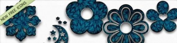 Голубые ретро иконки чудес природы