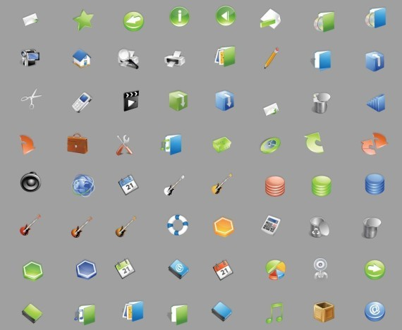 Free icon set that includes 36 hand pointer icons of 6 different types with