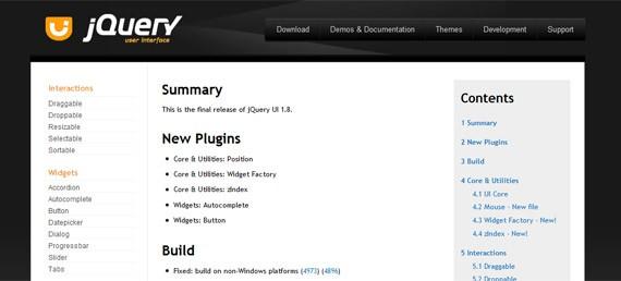 jQuery UI 1.8 Changelog