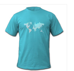 Aqua-earth-world-pixel-map-cool-creative-tshirt-designs