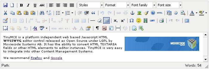 TinyMCE - Best WYSIWYG HTML Editor