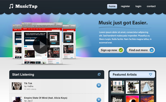 Beautiful-music-streaming-website-in-photoshop-web-design-layout-tutorials-from-2010