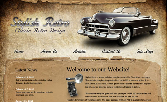 Create-stylish-retro-website-template-using-photoshop-web-design-layout-tutorials-from-2010