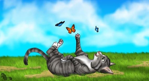 Кошка и бабочки