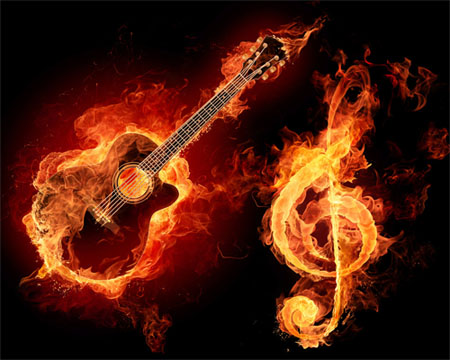 Guitar-treble-clef-in-flames-creatively-thrilling-photo-manipulations