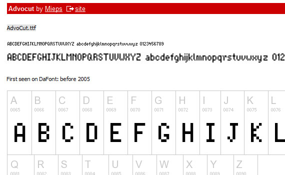 Advocut-pixel-free-pixel-fonts
