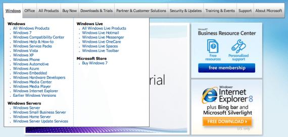 Poor menu layout - microsoft.com