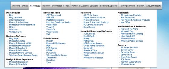 Too many options - microsoft.com