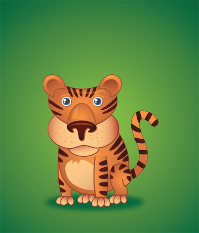 Create-cute-little-tiger-character-illustration-tutorials