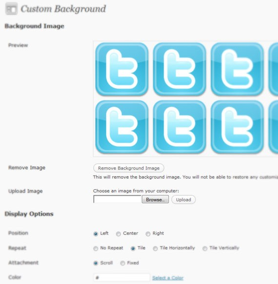 custom background wordpress 3.0 feature