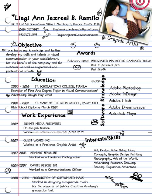 my creative resume by liagiannjezreel - Creative Resume Builder