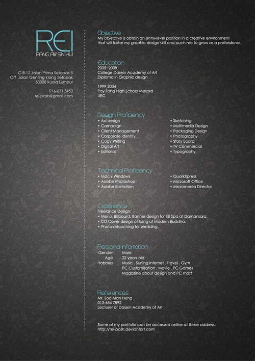 Reiu0027s Resume By Rei Pash  Cool Resume Designs