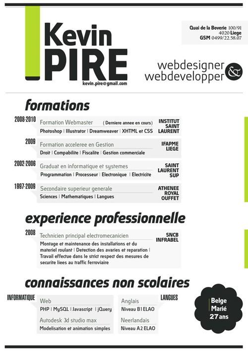 Creative resume headers