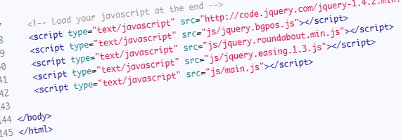 Load your javascript at the end