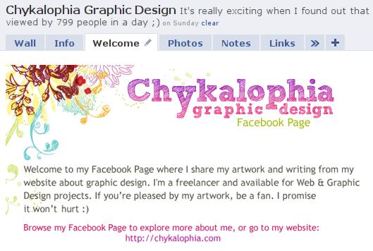 Chykalophia Graphic Design Facebook Fanpage Landing Tab