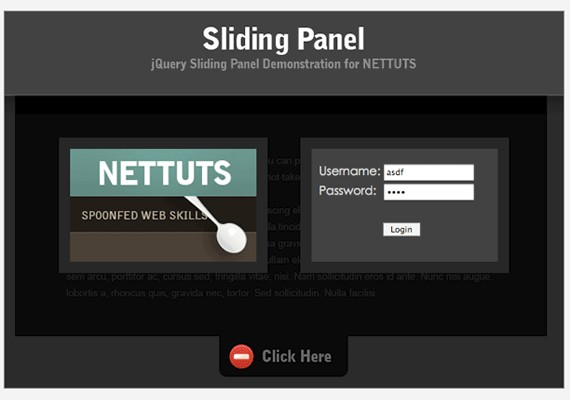 build a top panel 20+ Efectos de jQuery brillantes