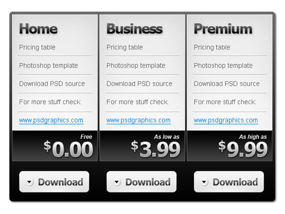 Seltars soup everything web black and white pricing table fandeluxe Images