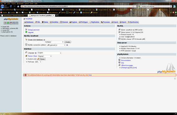 phpMyAdmin Main Page