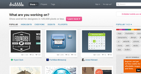 Dribbble-sites-gain-inspiration