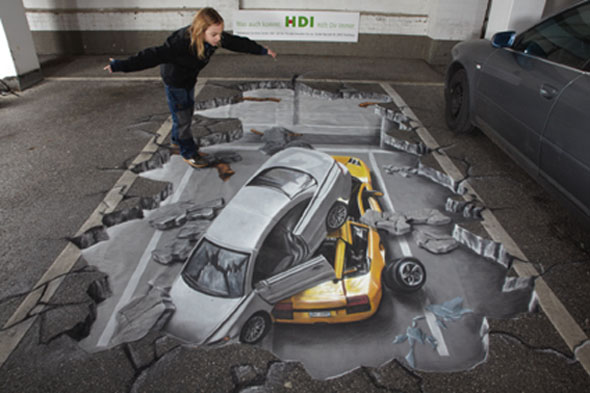 3D Cars Pavement Art 3