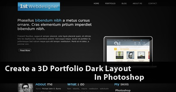 Create Amazing 3D Portfolio Dark Layout In Photoshop