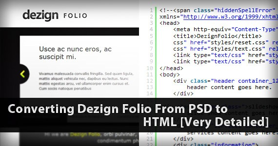 Converting Dezign Folio From PSD to HTML [Very Detailed]