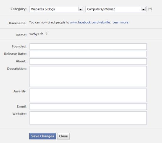 Facebook Page Profile Details