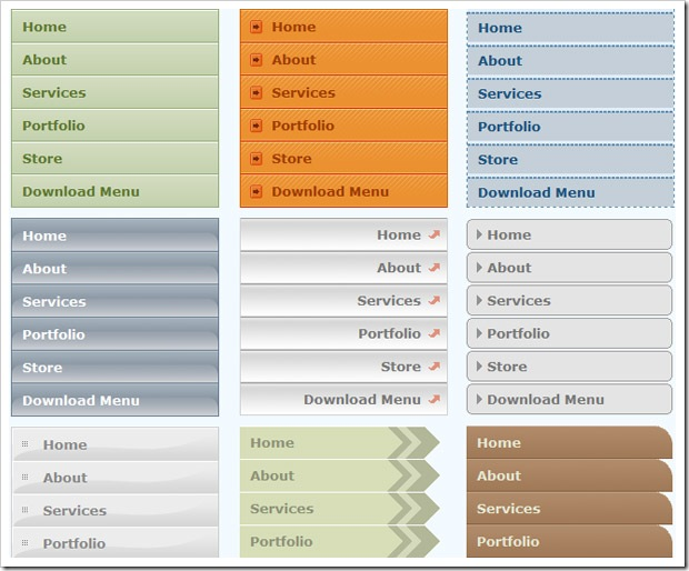 Cool horizontal css menus download secretgett for Horizontal menu templates free download