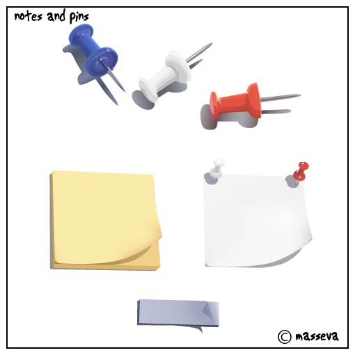 post-it notes and pins