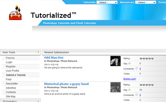 Tutorialized-sites-submit-web-design-tutorials