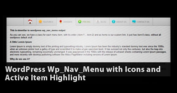 WordPress Wp_Nav_Menu with Icons and Active Item Highlight
