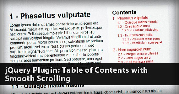 jQuery Plugin: Table of Contents with Smooth Scrolling