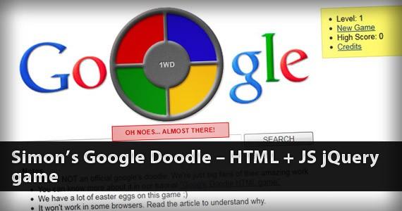 Simon's Google Doodle – HTML5 + JS jQuery Game