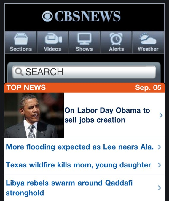 CBS News Mobile Website